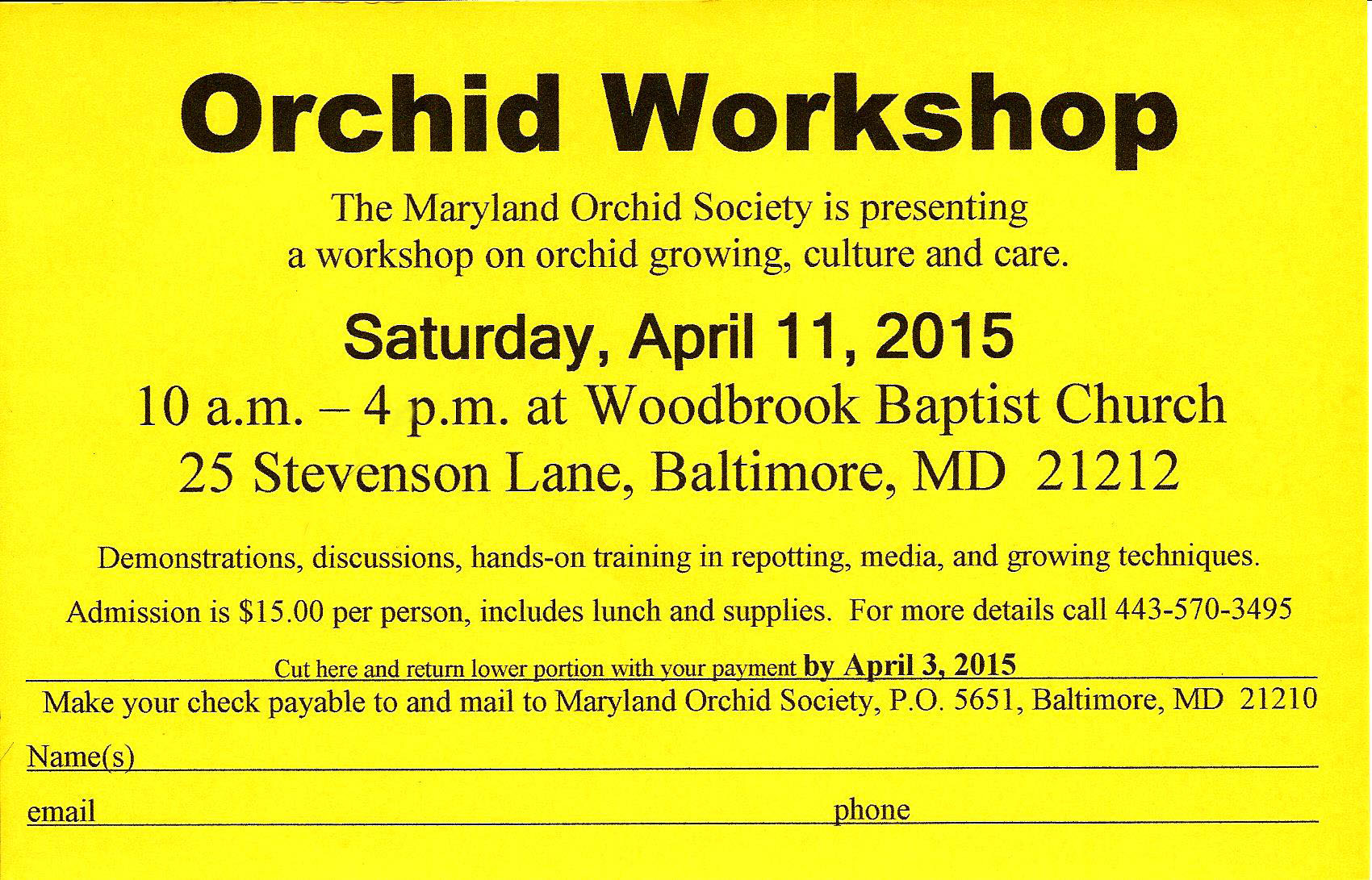 Maryland Orchid Society Orchid Workshop 2015